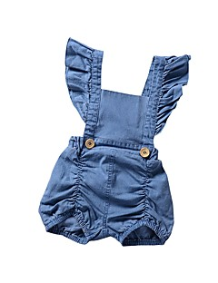 cheap The Freshest One-Piece-Baby Girls' Casual / Street chic Daily / Sports Solid Colored Backless / Ruffle / Ruched Sleeveless Spandex Romper Light Blue / Toddler