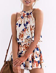 cheap Women's Two Piece Sets-Women's Boho Short Tank Top - Floral, Bow Pant Halter