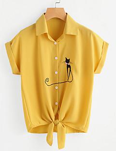 billige Overdele til damer-Krave Dame - Dyr Vintage Skjorte