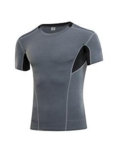 billige Løbetøj-Herre Løbe-T-shirt Sport T-Shirt - Kortærmet Træning & Fitness Åndbarhed Elastisk Blå, Sort / Rød, Grå Ensfarvet