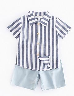 billige Tøjsæt til drenge-Drenge Tøjsæt Daglig Stribet, Bomuld Forår Sommer Kortærmet Simple Grå
