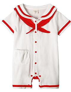 billige Babytøj-Baby Unisex En del Daglig Ensfarvet, Polyester Forår Kort Ærme Simple Blå Hvid