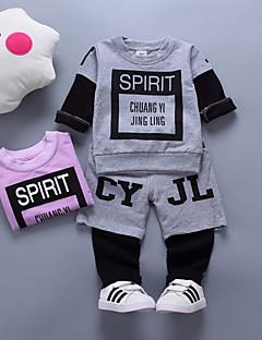 tanie Odzież dla chłopców-Komplet odzieży Bawełna Dla obu płci Codzienny Wyjściowe Jendolity kolor Nadruk Żakard Wiosna Jesień Długi rękaw Vintage Gray Purple