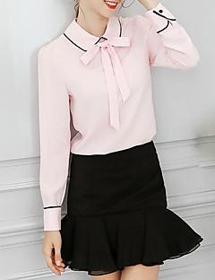 baratos Blusas Femininas-Mulheres Blusa Básico, Sólido Listrado Colarinho de Camisa Solto Manga Princesa