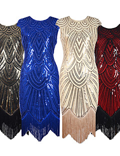 cheap Historical & Vintage Costumes-The Great Gatsby 1920s Roaring 20s Costume Women's Dress Party Costume Flapper Dress Cocktail Dress Red+Black / Silver / Black / Golden+Black Vintage Cosplay Party Prom Sleeveless Knee Length