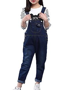 billige Bukser og leggings til piger-Pige Jeans Daglig Ensfarvet, Bomuld Polyester Forår Efterår Uden ærmer Simple Afslappet Blå