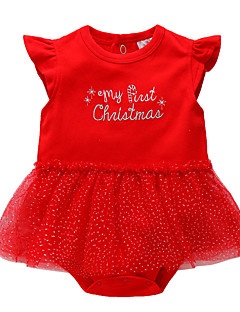billige Babytøj-Baby Pige En del Daglig Ensfarvet, Bomuld Polyester Sommer Uden ærmer Sødt Rød
