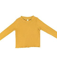 billige Sweaters og cardigans til piger-Pige Trøje og cardigan Daglig Ensfarvet, Polyester Forår Langærmet Simple Gul