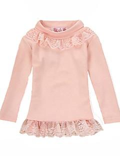 billige Pigetoppe-Pige T-shirt Daglig Ensfarvet, Bomuld Polyester Forår Langærmet Sødt Lyserød