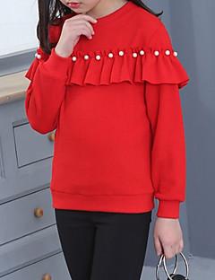 billige Hættetrøjer og sweatshirts til piger-Pige Hættetrøje og sweatshirt Ensfarvet, Bomuld Vinter Langærmet Sødt Sort Rød Lyserød