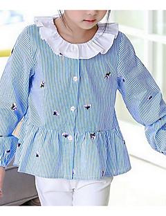 billige Pigetoppe-Pige Skjorte Ensfarvet Stribet, Polyester Forår Sommer Langærmet Blå