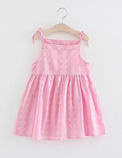 Χαμηλού Κόστους Πώληση-Κορίτσια Φόρεμα Βαμβάκι Λινό Γεωμετρικό Καθημερινά Αργίες Καλοκαίρι Αμάνικο Ενεργό Ανθισμένο Ροζ