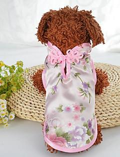 billiga Hundkläder-Hund Katt Kappor Hundkläder Broderi Grön Rosa Siden Kostym För husdjur Dam Stilig Etnisk