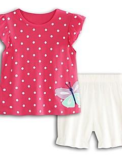 billige Tøjsæt til piger-Pige I-byen-tøj Ferie Prikker Trykt mønster Tøjsæt, Bomuld Akryl Forår Sommer Kortærmet Sødt Aktiv Rosa