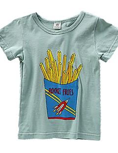 billige Overdele til drenge-Drenge Daglig Trykt mønster T-shirt, Bomuld Forår Sommer Kortærmet Aktiv Grøn Hvid