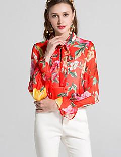 billige Dametopper-Skjortekrage Skjorte Dame - Blomstret Grunnleggende