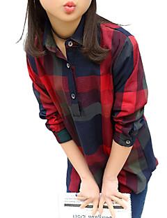 tanie Odzież dla dziewczynek-Koszula Bawełna Dla dziewczynek Codzienny Wyjściowe Szkoła Pled Wiosna Jesień Długi rękaw Prążki Orange Czerwony