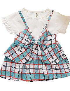 billige Babytøj-Baby Pige Afslappet Ternet Kortærmet Bomuld Tøjsæt