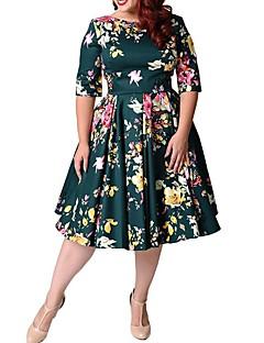 billige Kjoler-Dame Plusstørrelser I-byen-tøj Vintage A-linje Kjole - Blomstret, Trykt mønster Knælang