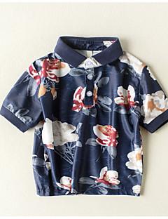 billige Overdele til drenge-Drenge Daglig Ferie Blomstret T-shirt, Bomuld Sommer Kortærmet Basale Navyblå