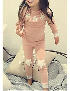 billige Undertøj og sokker til piger-Pige Nattøj Himmel, Polyester Langærmet Tegneserie Grøn Lyserød