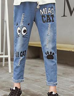 billige Bukser og leggings til piger-Geometrisk Pigens Daglig Polyester Forår Uden ærmer Kjole Basale Blå