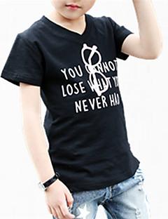 tanie Odzież dla chłopców-T-shirt Bawełna Dla chłopców Codzienny Kwiaty Wiosna Lato Na każdy sezon Krótki rękaw Kwiatowy White Black