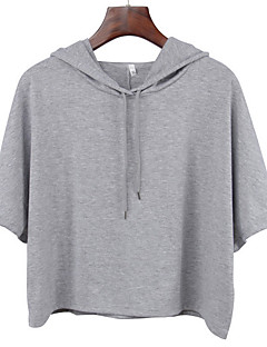 tanie Damskie bluzy z kapturem-Damskie Moda miejska Bluza z Kapturem - Jendolity kolor