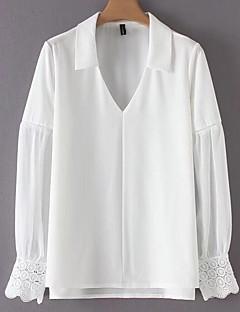 billige Skjorte-Dame-Ensfarvet Blonder Basale Skjorte