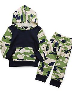 billige Tøjsæt til drenge-Drenge Daglig Ferie Ensfarvet Trykt mønster Patchwork Tøjsæt, Bomuld Akryl Forår Sommer Langærmet Sødt Aktiv Army Grøn