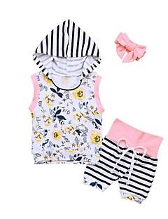 billige Sett med babyklær-Baby Pige Tøjsæt Daglig Ferie Stribet Blomstret Patchwork, Bomuld Forår Sommer Uden ærmer Sødt Aktiv Hvid