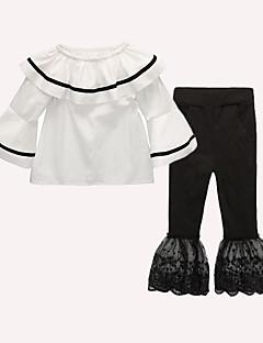 billige Tøjsæt til piger-Pige I-byen-tøj Ferie Ensfarvet Tøjsæt, Bomuld Akryl Forår Sommer Langærmet Sødt Aktiv Hvid Sort Rød
