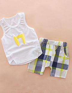 billige Tøjsæt til drenge-Drenge Daglig Ferie Trykt mønster Tøjsæt, Bomuld Akryl Forår Sommer Uden ærmer Sødt Aktiv Blå Hvid Gul