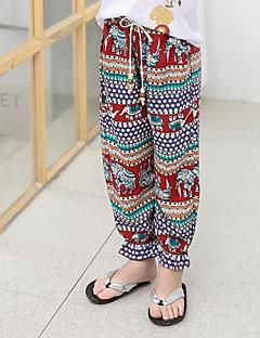 billige Bukser og leggings til piger-Farveblok Pigens Daglig I-byen-tøj Bomuld Polyester Forår Sommer Uden ærmer Kjole Sødt Aktiv Rød