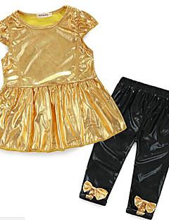 billige Babytøj-Baby Pige Ensfarvet Kortærmet Tøjsæt