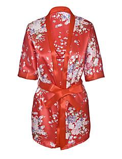 billige Moteundertøy-Dame Dress Uniformer og kinesiske kjoler Nattøy - Blomstret, Trykt mønster