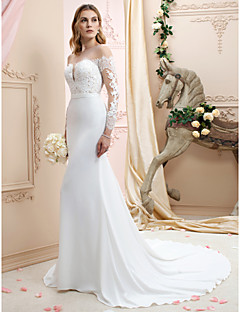 cheap LAN TING BRIDE®-Mermaid / Trumpet Plunging Neck Chapel Train Chiffon / Corded Lace Made-To-Measure Wedding Dresses with Appliques / Buttons by LAN TING