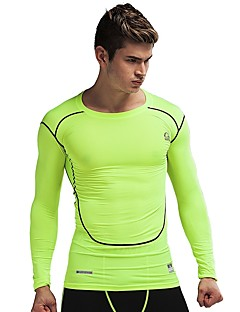 billiga Träning-, jogging- och yogakläder-Herr Rund hals T-shirt för jogging - Svart, Grön sporter Kompressionskläder Kort Pant Sportkläder Torkar snabbt Elastisk