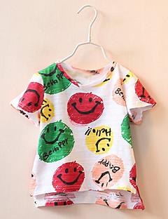 billige Pigetoppe-Pige Daglig Ferie Trykt mønster T-shirt, Bomuld Sommer Kortærmet Basale Beige