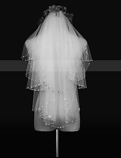 billiga Brudslöjor-Två lager Blomstil / Mesh / Konvertibel klänning Brudslöjor Kapell Slöjor med Kant / Tvinning POLY / Tyll / Oval