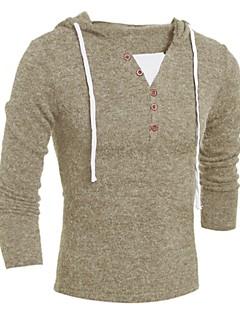 tanie Męskie swetry i swetry rozpinane-Męskie Podstawowy Kaptur Szczupła Pulower Jendolity kolor Długi rękaw
