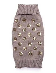 billiga Hundkläder-Hund Tröjor Hundkläder Enfärgad Enkel Paljett Grå Akrylik Fiber Kostym För husdjur Dam Djur Ledigt / vardag