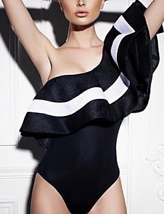 billige Bikinier og damemote 2017-Dame Store størrelser Stroppeløs Bandeau En del - Drapering, Cheeky Stripet