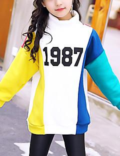 billige Hættetrøjer og sweatshirts til piger-Pige Bluse Bomuld Vinter Langærmet Aktiv Hvid