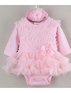billige Babytøj-Baby Pigens Kjole Daglig Ferie Ensfarvet, Bomuld Polyester Sommer Langærmet Sødt Lyserød