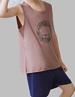 tanie Odzież dla chłopców-Dla obu płci Codzienny Nadruk Komplet odzieży, Poliester Lato Bez rękawów Aktywny Brown Gray