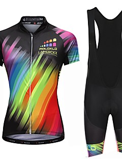 cheap Cycling Jersey & Shorts / Pants Sets-Malciklo Women's Cycling Jersey with Bib Shorts - White Black Bike Bib Shorts Jersey, Quick Dry, Anatomic Design, Reflective Strips,
