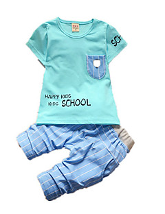 tanie Odzież dla chłopców-Dla chłopców Codzienny Urlop Nadruk Komplet odzieży, Bawełna Akryl Wiosna Lato Bez rękawów Urocza Aktywny White Yellow Light Blue