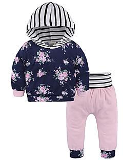 billige Sett med babyklær-Baby Unisex Blomstret 3/4-ærmer Tøjsæt