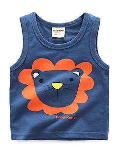levne Dívčí oblečení-Unisex Denní Dovolená Tisk Soupravičky, Bavlna Léto Bez rukávů Základní Trávová zelená Oranžová Námořnická modř Šedá Světle modrá